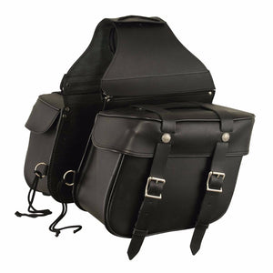 First Manufacturing FIBAG8000 Black Leather Motorcycle Saddlebags