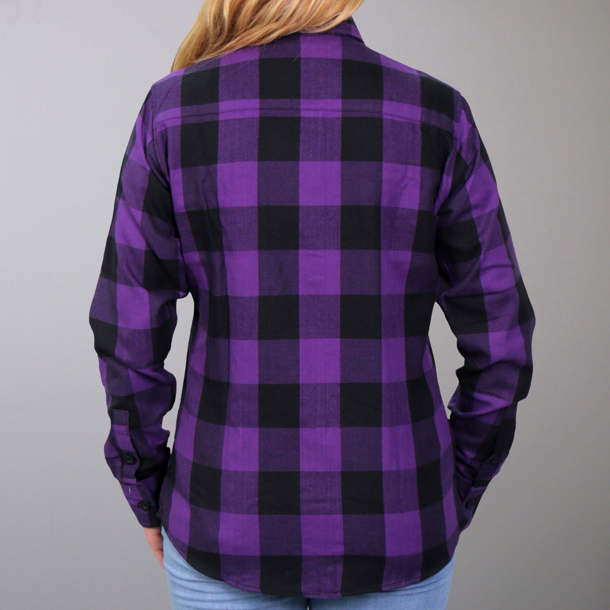 Hot Leathers Black and Purple Long Sleeve Ladies Flannel