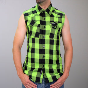 Hot Leathers Black & Green Sleeveless Flannel Shirt