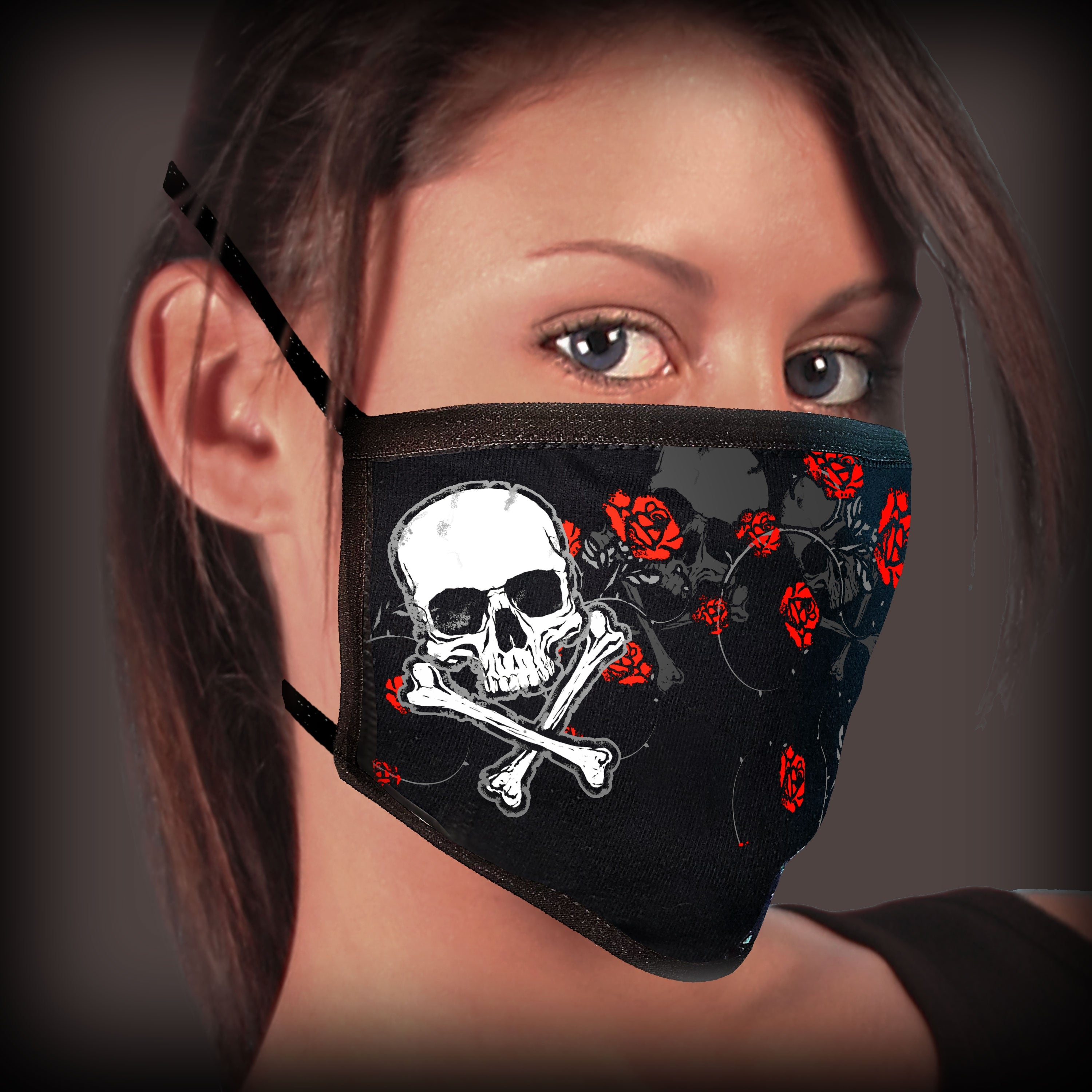 Hot Leathers Red Roses Face Mask