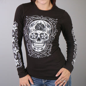Hot Leathers Sugar Skull Long Sleeve Ladies Tee
