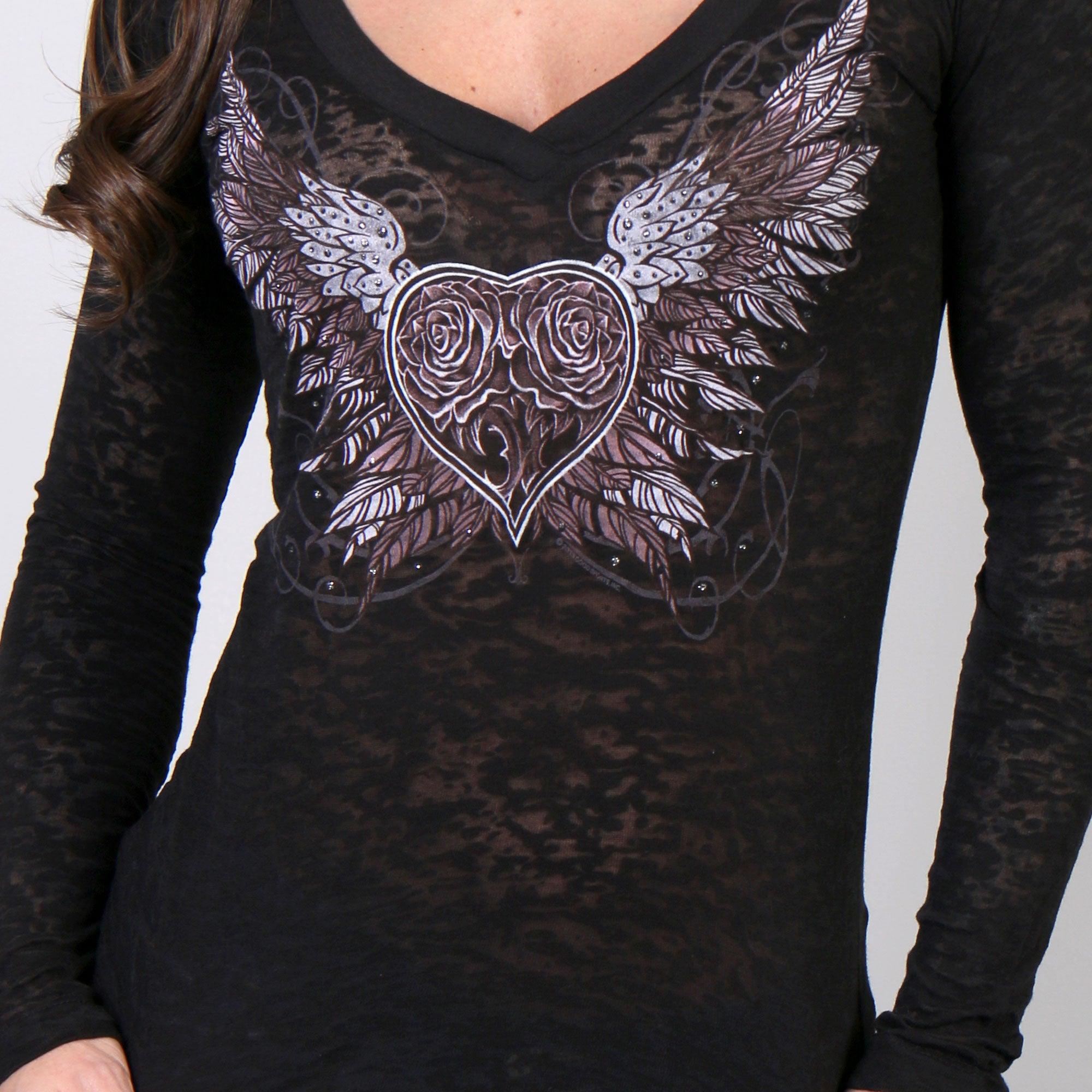 Hot Leathers Sparkle Wings Burnout V-Neck Long Sleeve Ladies Shirt