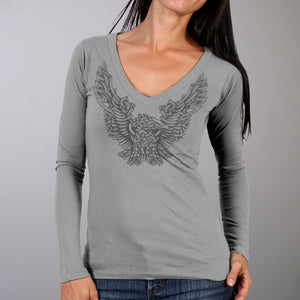 Hot Leathers Celtic Eagle Ladies Long Sleeve V-Neck Shirt