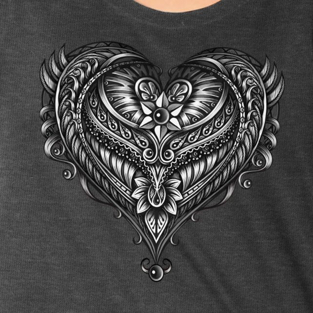 Hot Leathers Ornate Angel Wings Curvy Ladies T- Shirt