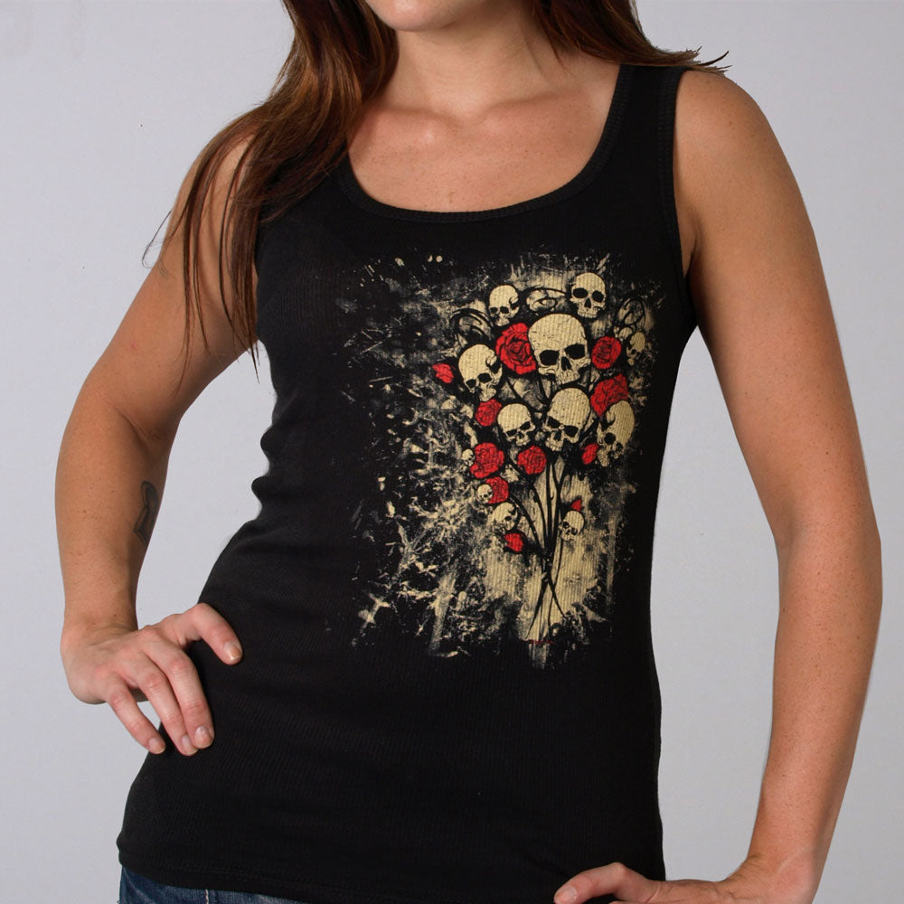 Hot Leathers Skull Bouquet Ladies Boy Beater Tank Top