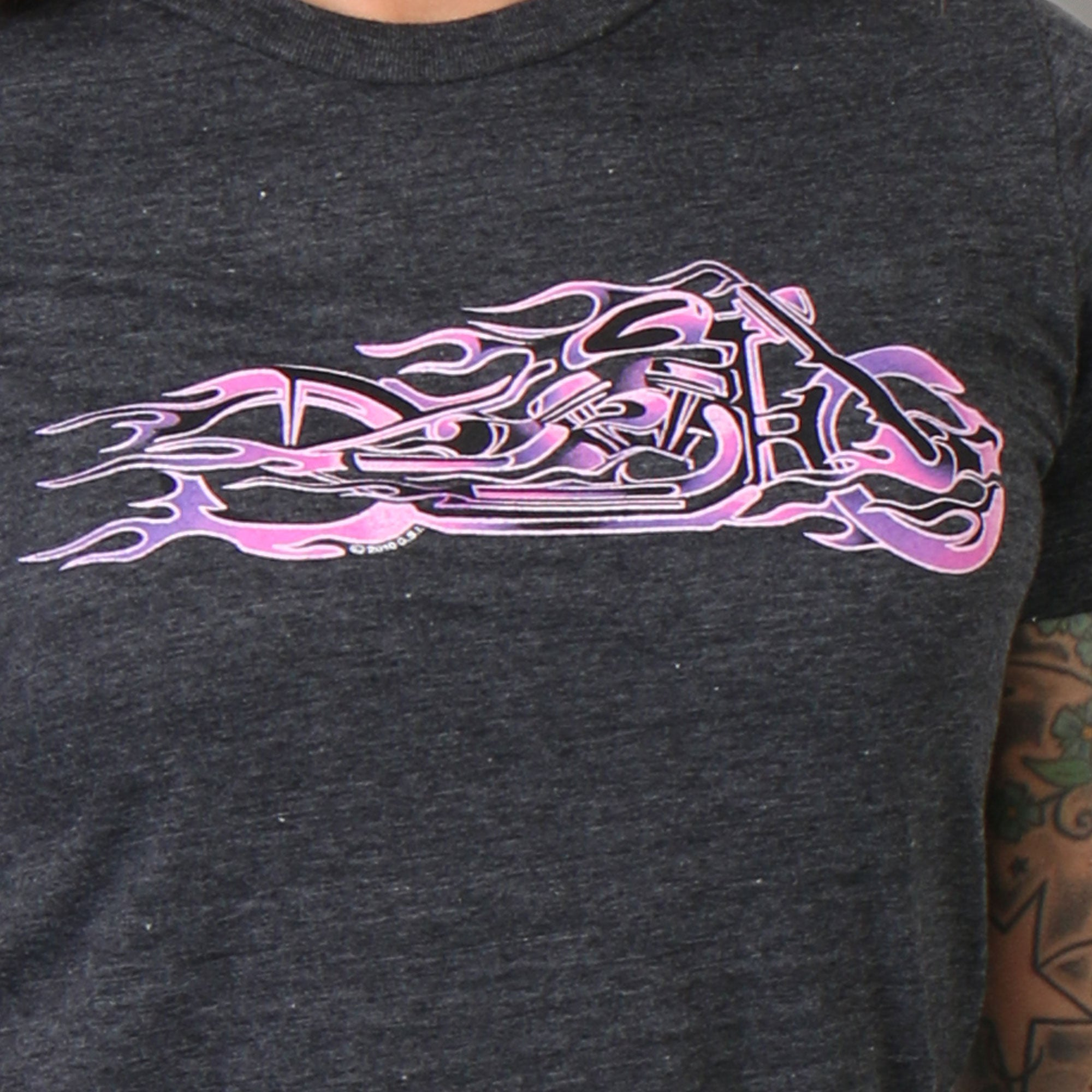 Hot Leathers Pink and Purple Fire Bobber Full Cut Motorcycle Shirt