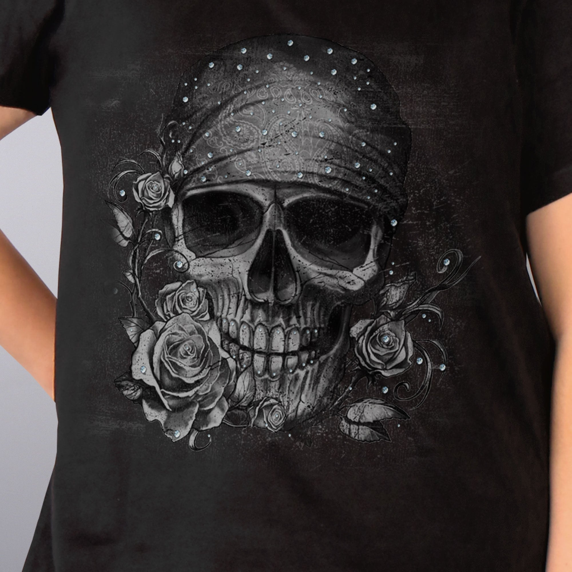 Hot Leathers Skull Bandana Full Figured Ladies T-Shirt