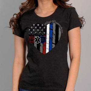 Hot Leathers Heart First Responders Ladies T-Shirt