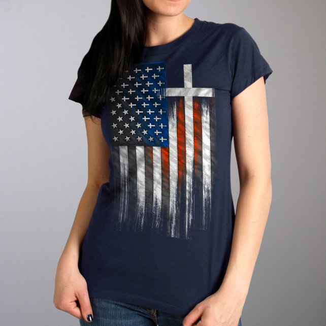 Hot Leathers American Flag Crosses Ladies T-Shirt