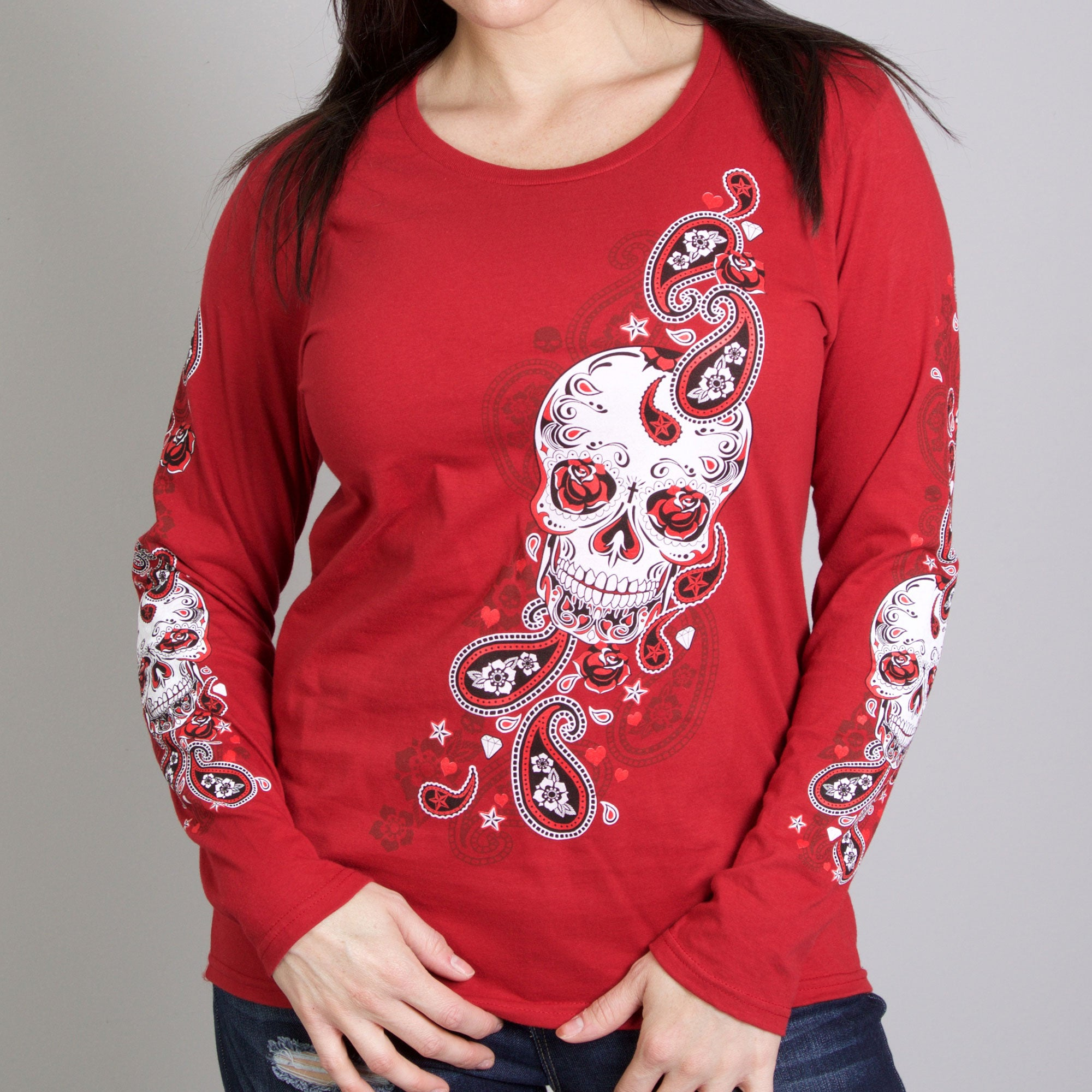 Hot Leathers Sugar Paisley Ladies Long Sleeve Shirt