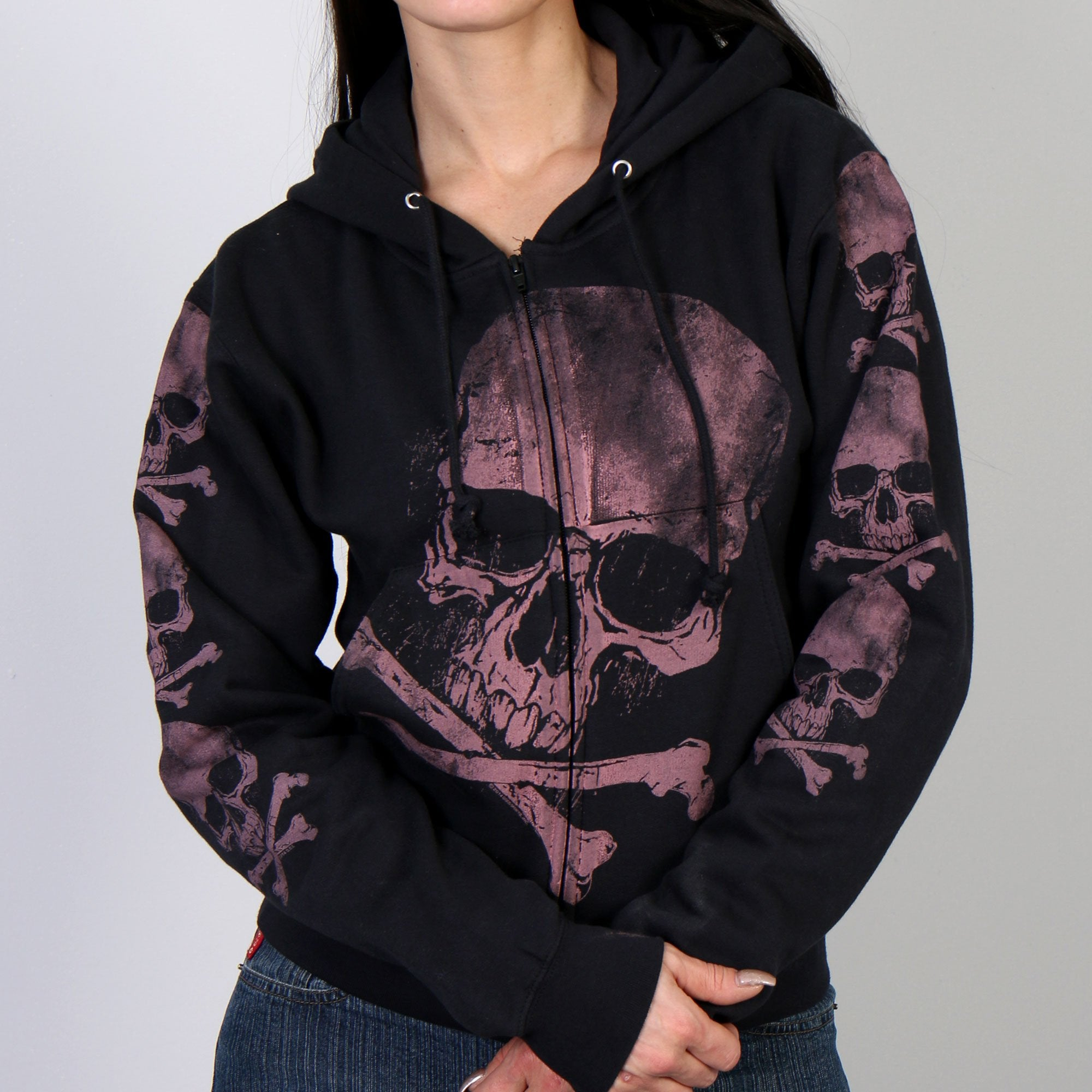 Hot Leathers Skull and Crossbones Zip-Up Hooded Sweat Shirt