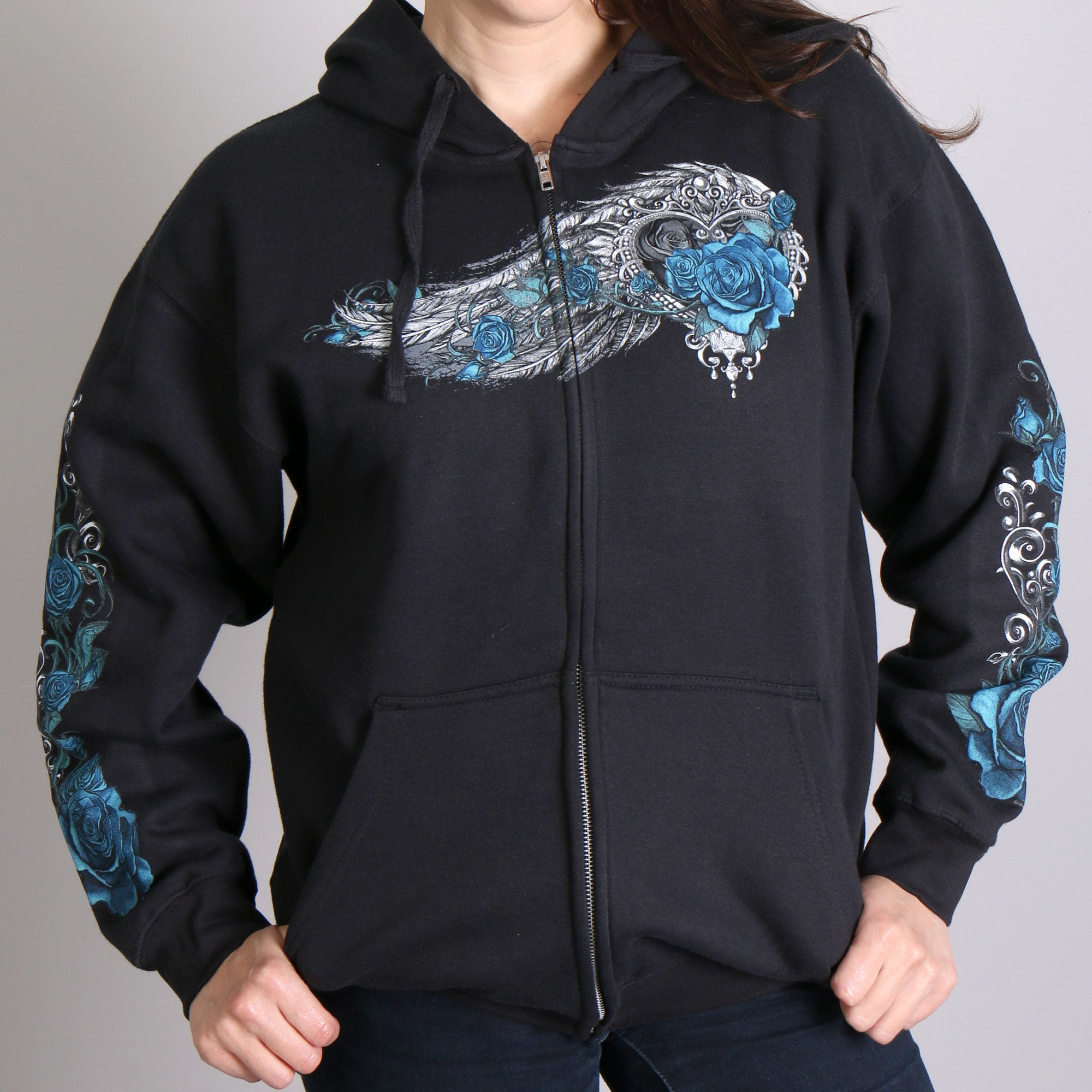 Hot Leathers Angel Roses Zip Up Hooded Ladies Sweat Shirt