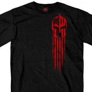 Hot Leathers Red Warrior Skull Flag T-Shirt