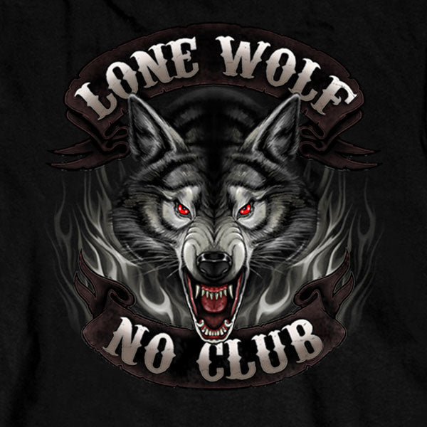Hot Leathers Lone Wolf No Club Biker Long Sleeve Shirt