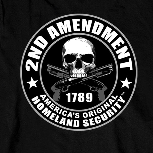 Hot Leathers Mens Black 2nd Amendment America's Original Homeland Security Long Sleeve