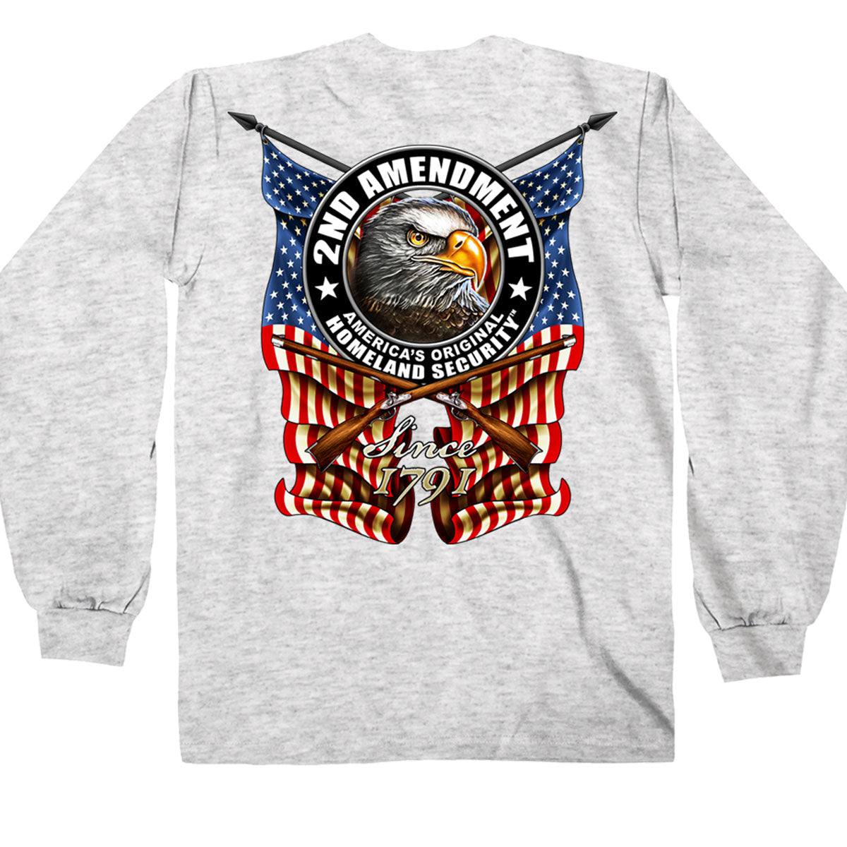 Hot Leathers 2nd Amendment Down Flags Eagle Long Sleeve Shirt