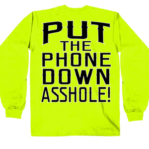 Hot Leathers Put the Phone Down Safety Green Shirt