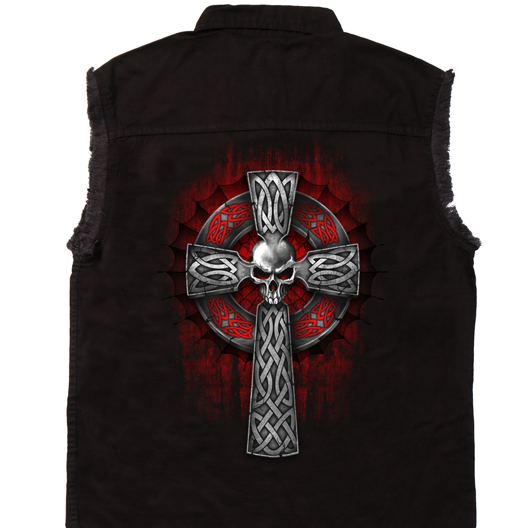 Hot Leathers Celtic Cross Sleeveless Denim