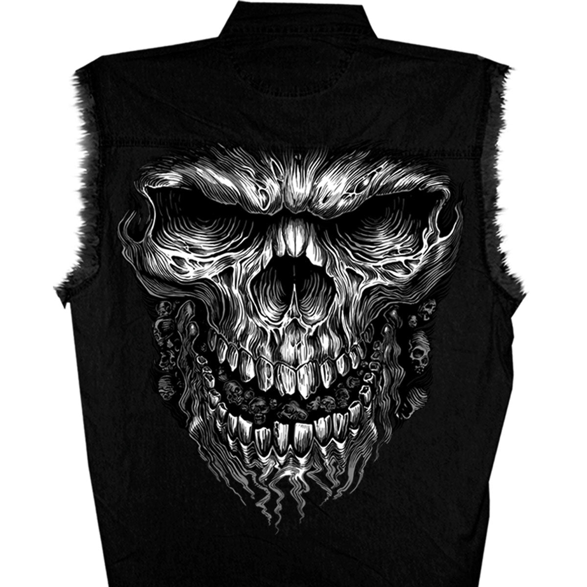 Hot Leathers Shredder Skull Black Sleeveless Denim