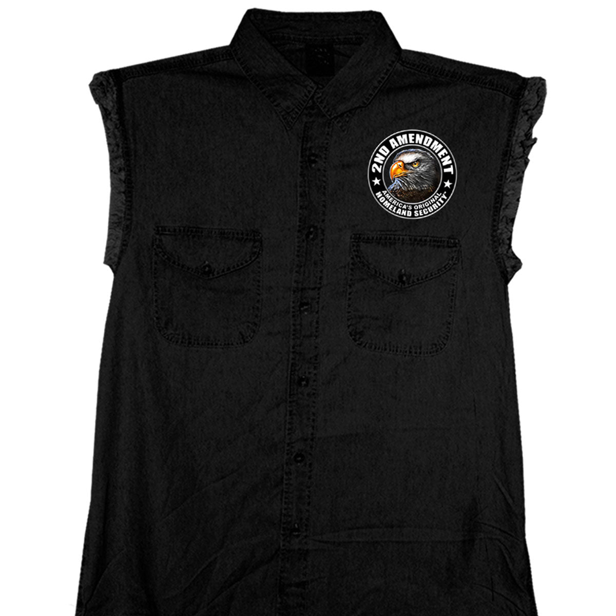 Hot Leathers New Down Flag Sleeveless Denim