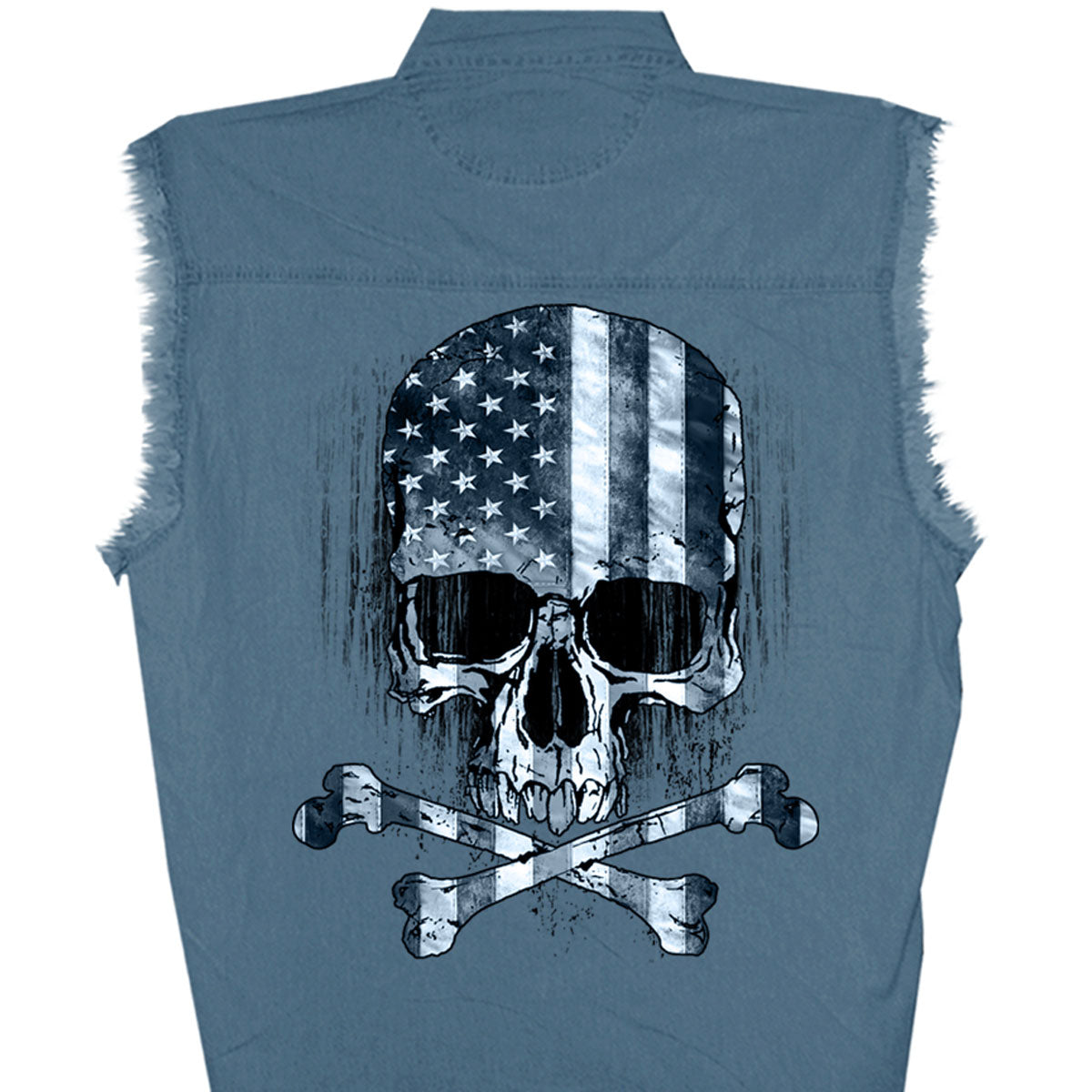 Hot Leathers Flag Skull Sleeveless Denim