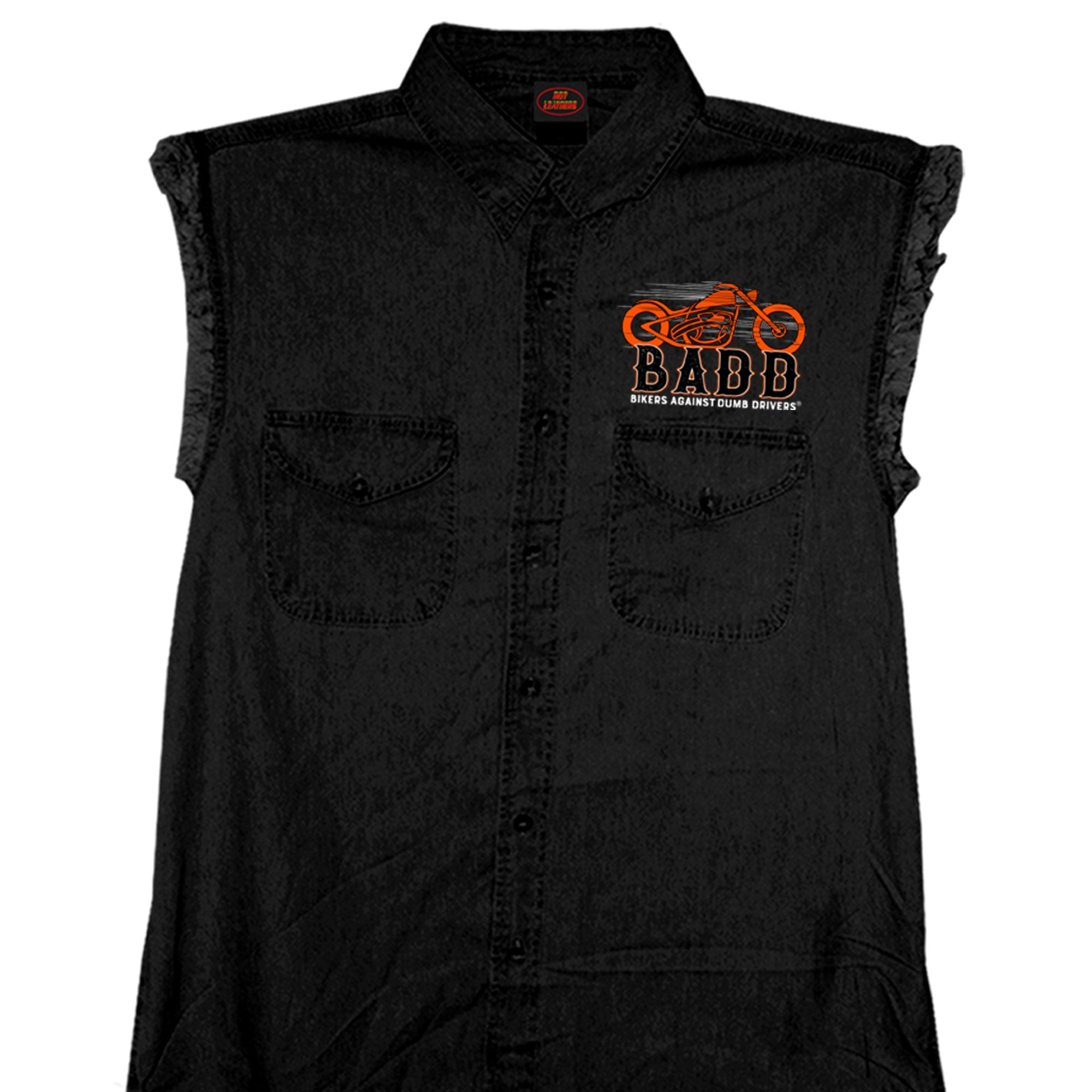 Hot Leathers Bone Finger Sleeveless Denim