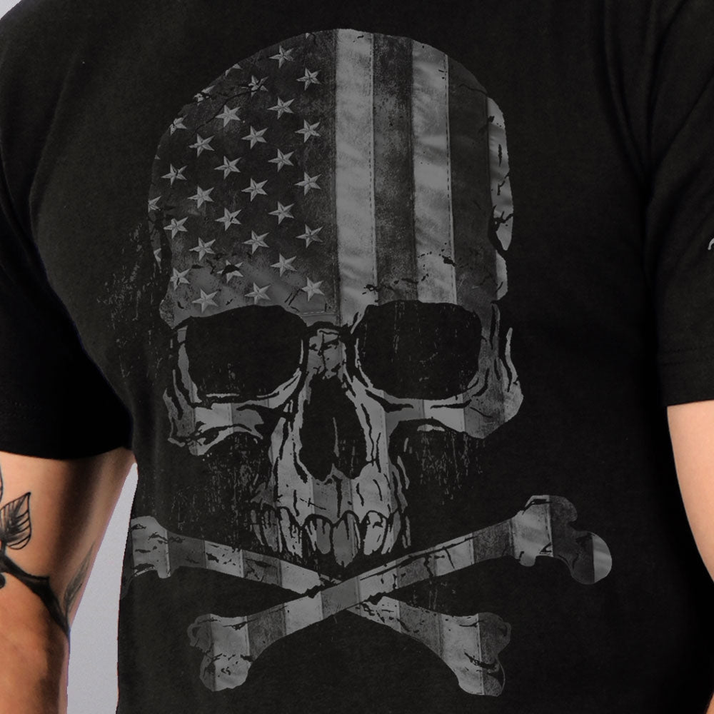 Hot Leathers Faded Flag Skull T-Shirt