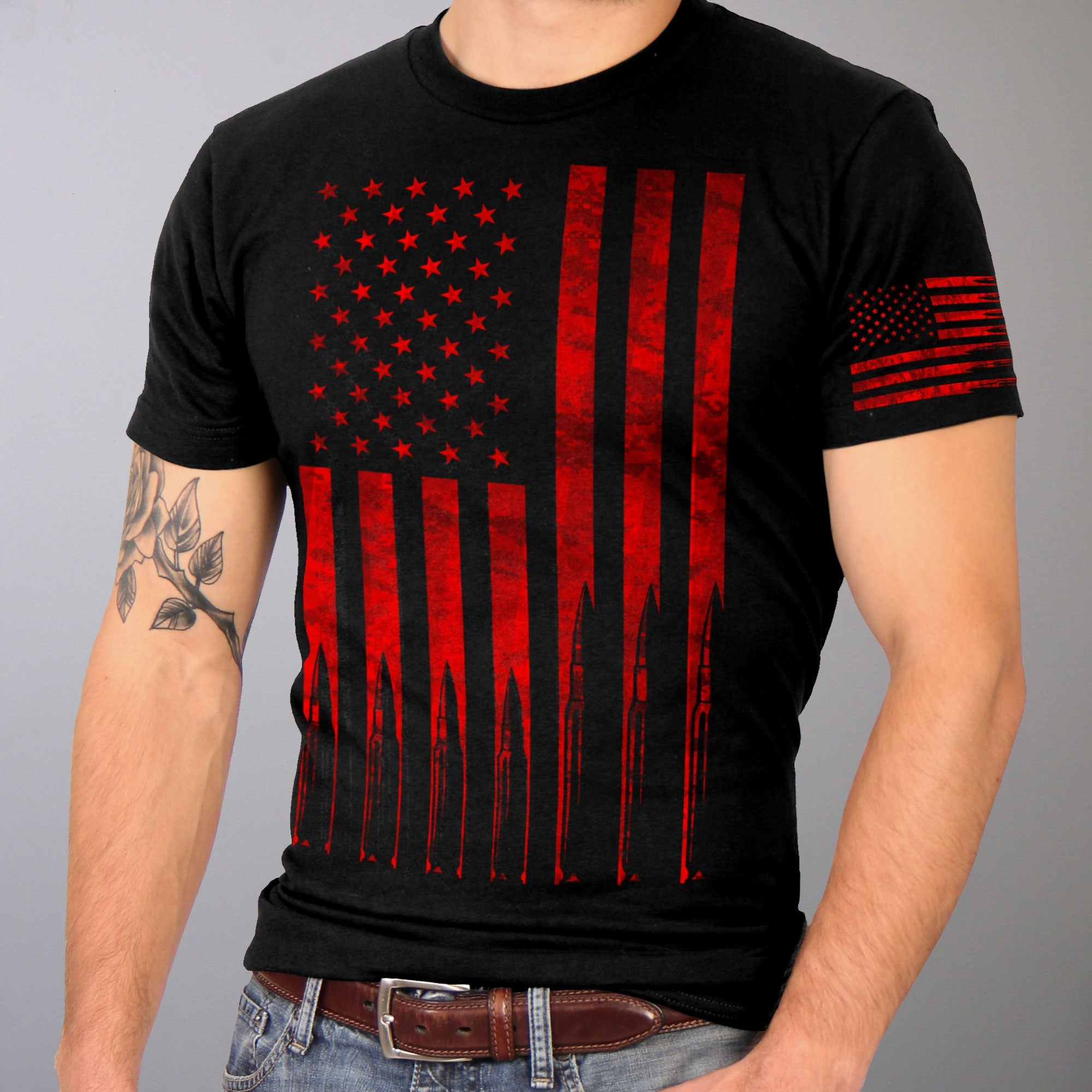 Hot Leathers American Flag Bullets T-Shirt