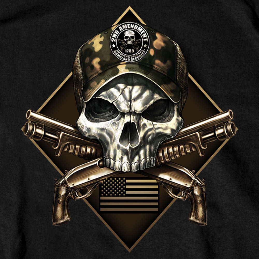 Hot Leathers 2nd Amendment Camo Skull T-Shirt