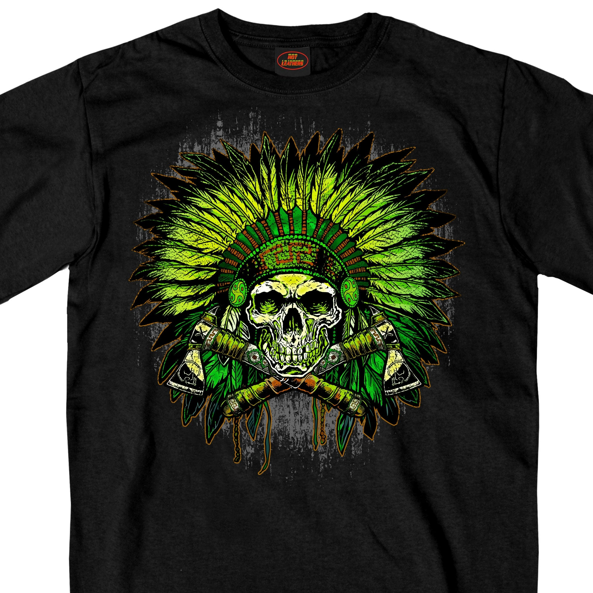Hot Leathers Green Indian Headdress Skull T-Shirt