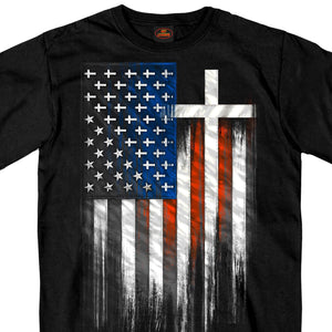 Hot Leathers American Flag Crosses T-Shirt