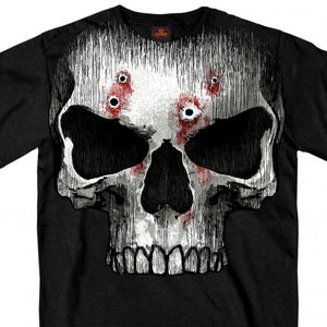 Hot Leathers Jumbo Print Skull Bullet Holes T-Shirt