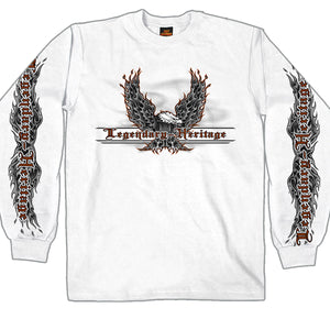 Hot Leathers Flaming Upwings Eagle Long Sleeve Shirt