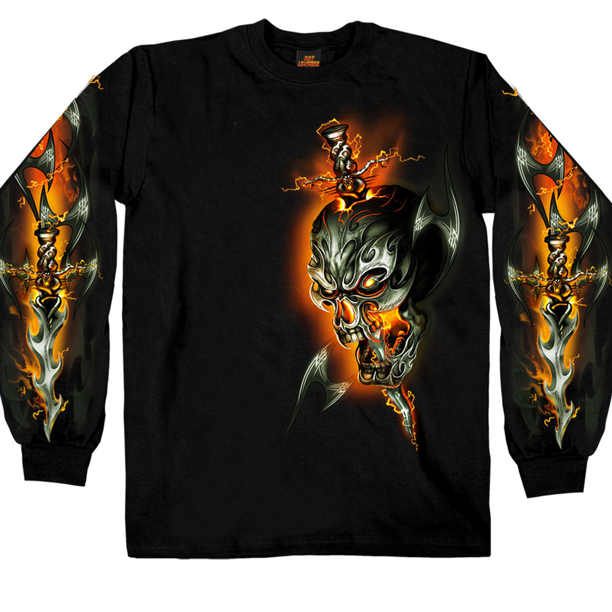 Hot Leathers Electric Skull Long Sleeve Shirt