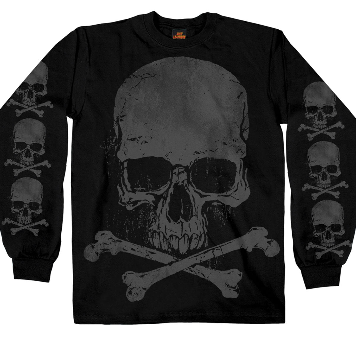 Hot Leathers Jumbo Print Skull and Cross Bones Long Sleeve Shirt