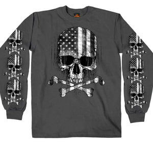 Hot Leathers Mens Charcoal Long Sleeve Flag Skull Shirt
