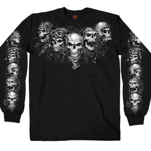 Hot Leathers Five Skulls Long Sleeve Men's Shirt