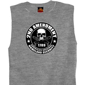 Hot Leathers Mens Heather Grey 2nd Amendment America's Original Homeland Security Shooter