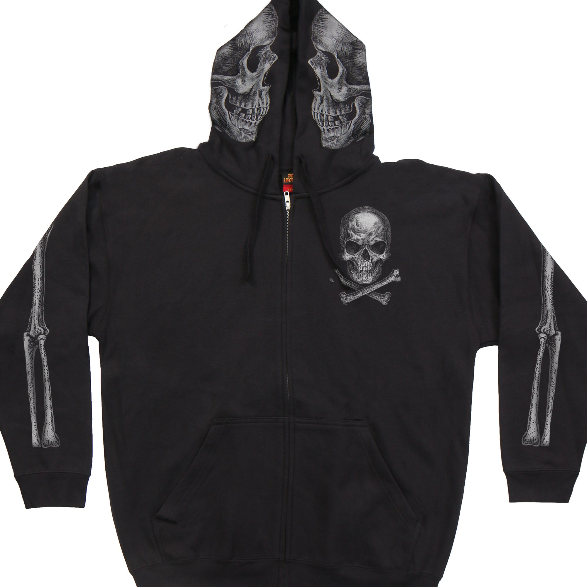 Hot Leathers Jolly Roger Skull Zipper Hoodie
