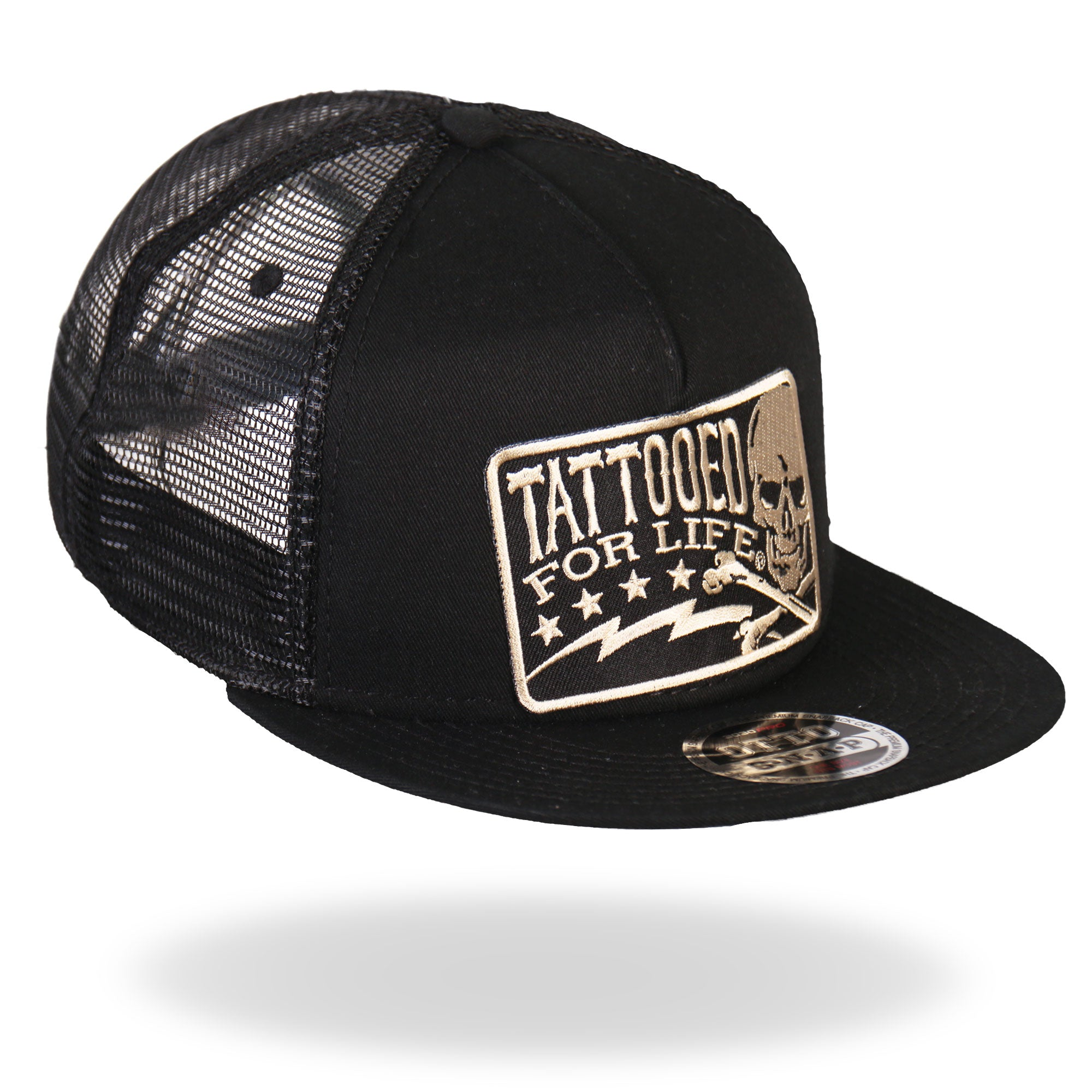 Hot Leathers Tattooed For Life Skull and Bolts Snap Back Hat