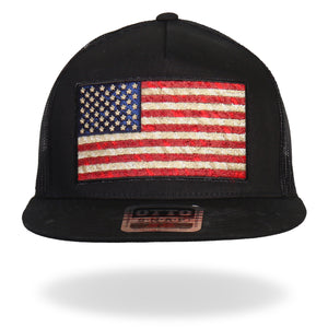 Hot Leathers Vintage American Flag All Black Snap Back Hat