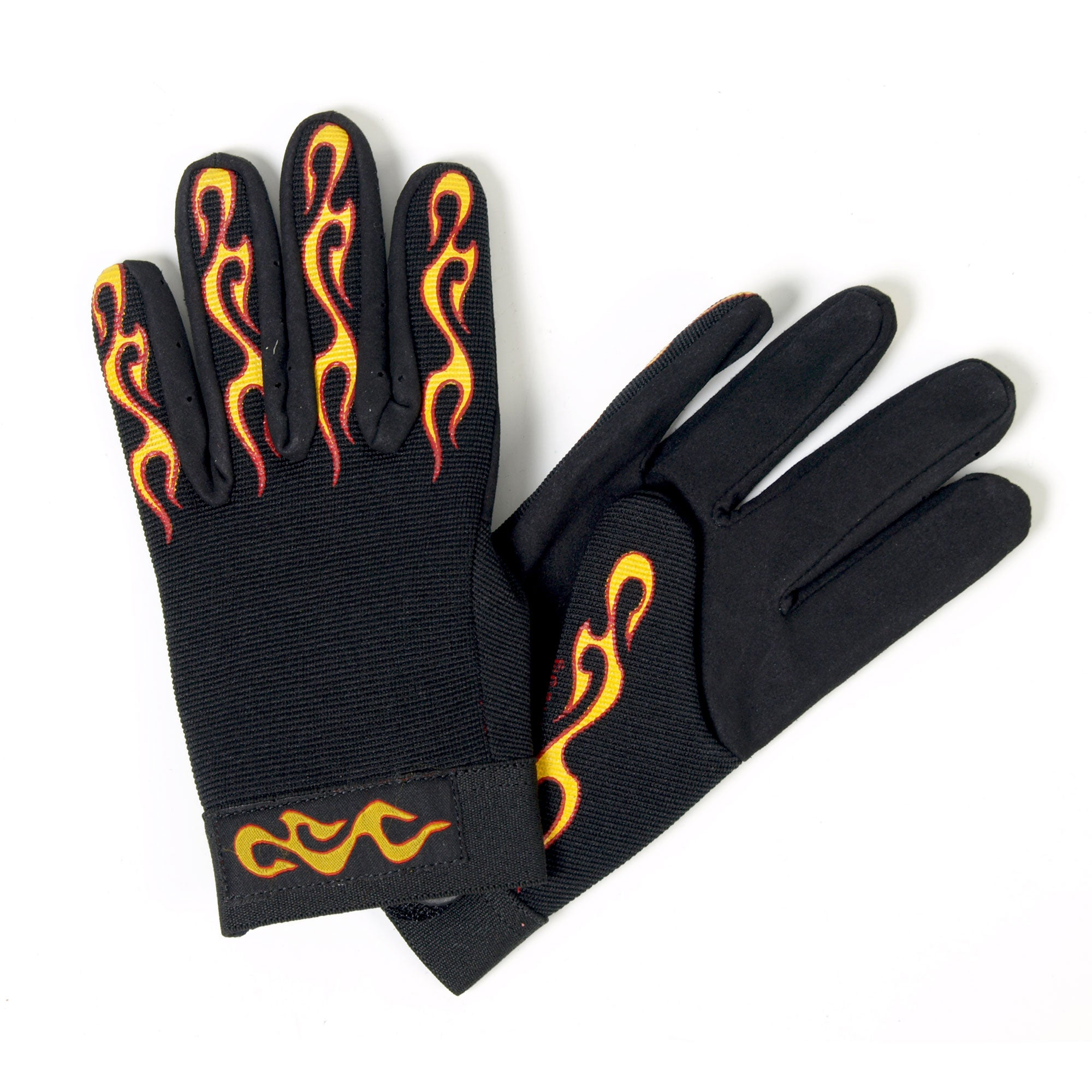 Hot Leathers Yellow & Red Flame Mechanics Gloves