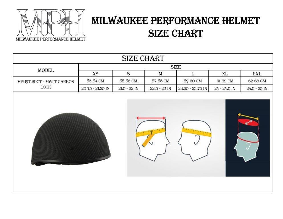 Milwaukee Performance Helmet MPH9712DOT Matte Black DOT Half Helmet with Carbon Fiber Look