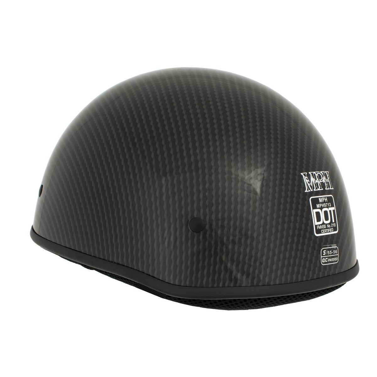 Milwaukee Performance Helmet MPH9713DOT Glossy Black DOT Half Helmet with Carbon Fiber Look