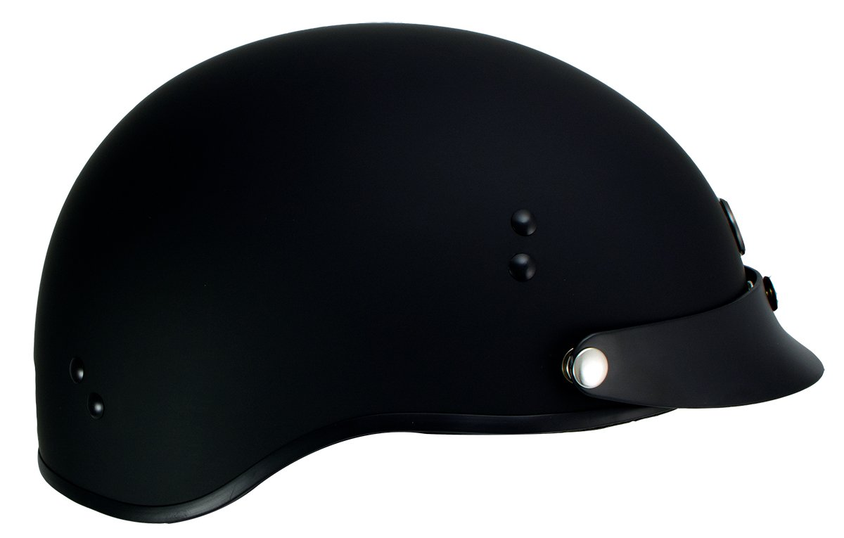 Klutch K-3 'Cruise' Flat Black Half Face Motorcycle Helmet with Snap On Visor