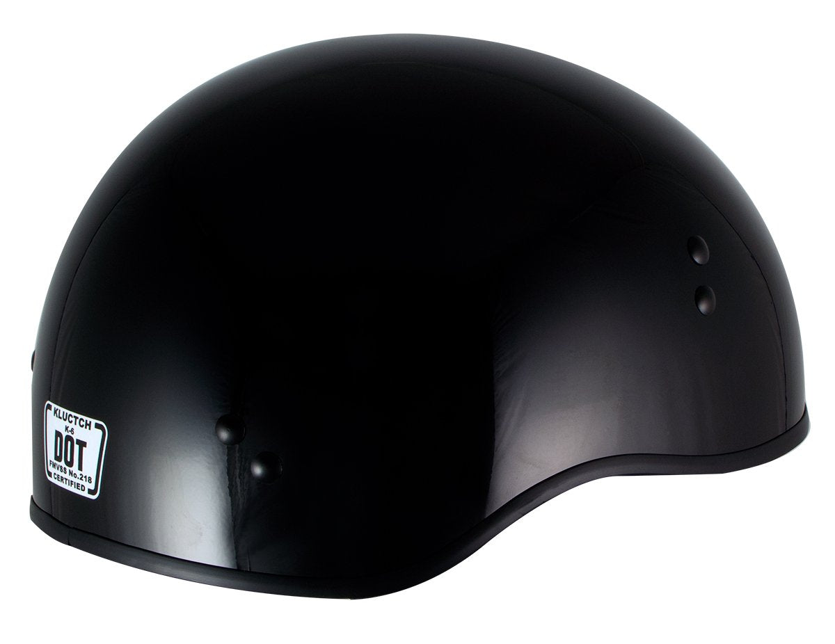 Klutch K-6 'Laid Low' Gloss Black Half Face Motorcycle Skull Helmet