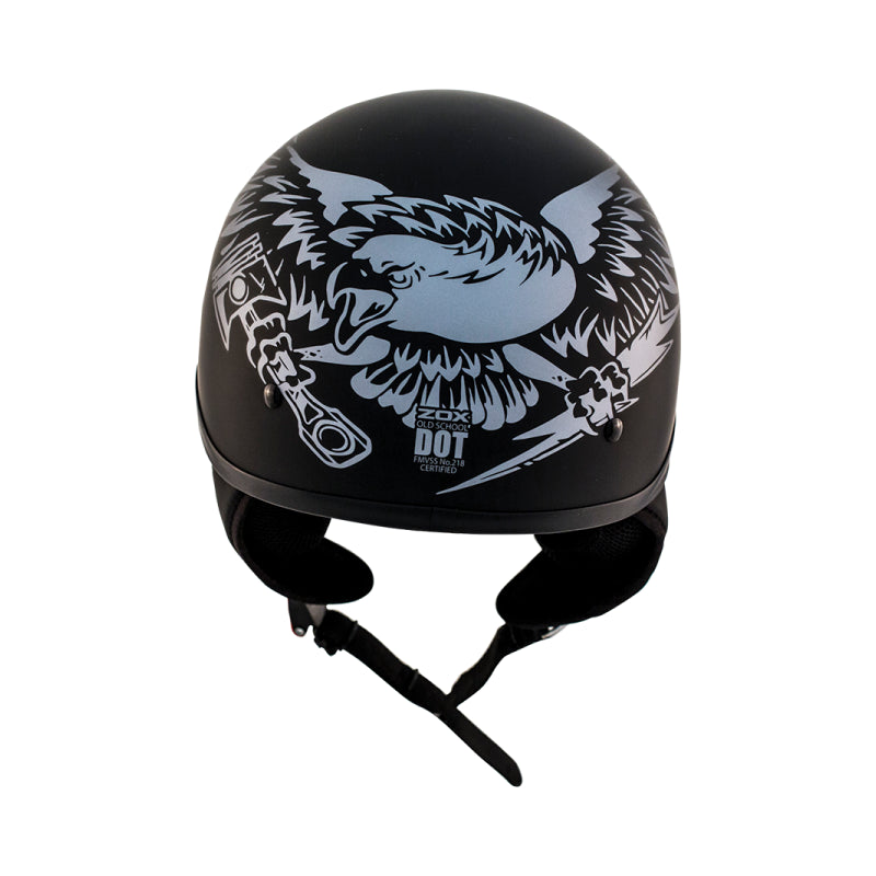 ZOX ST-225B 'Alto Custom' Eagle Silver Motorcycle Open Face Helmet with Drop Down Visor