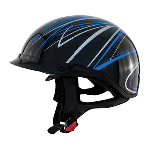 ZOX ST-235A 'Roadster DDV' Blue Motorcycle Open Face Helmet with Drop Down Visor