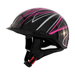 ZOX ST-235A 'Roadster DDV' Pink Motorcycle Open Face Helmet with Drop Down Visor