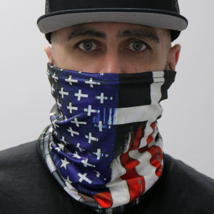 Hot Leathers Flag Cross Neck Gaiter Mask